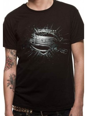 SUPERMAN T SHIRT Official Merchandise SUPERMAN MAN OF STEEL - ERRODED (UNISEX) Black t-shirt