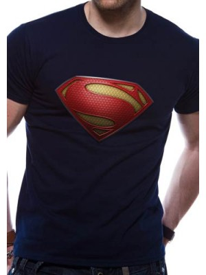 SUPERMAN T SHIRT Official Merchandise SUPERMAN MAN OF STEEL - TEXTURED LOGO (UNISEX) Blue t-shirt
