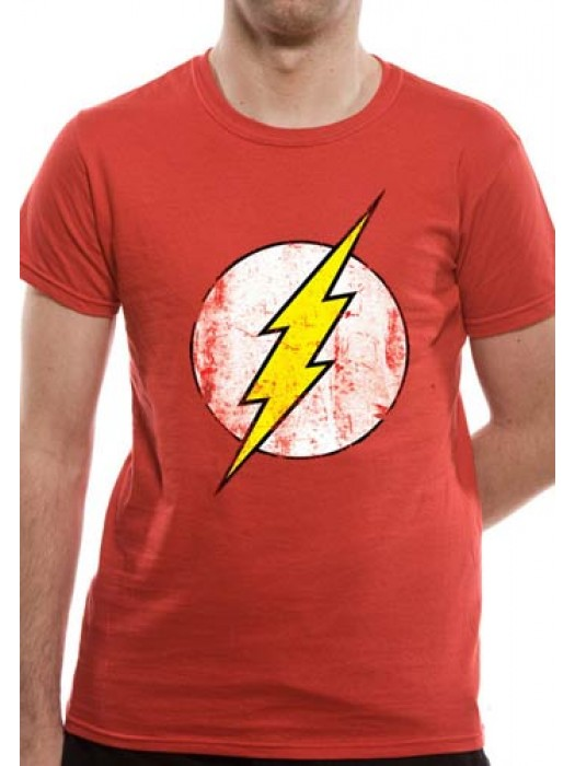 THE FLASH T SHIRT Official Merchandise THE FLASH - DISTRESSED LOGO (UNISEX) Red t-shirt