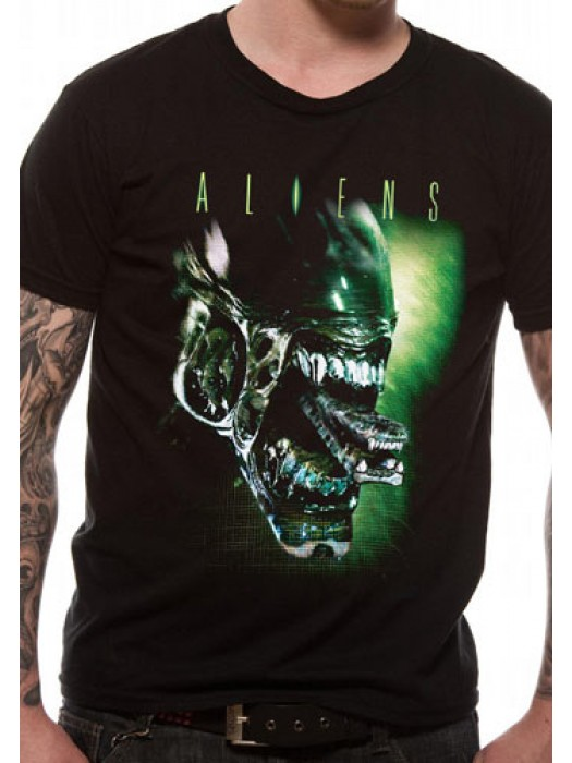 ALIEN T SHIRT Official Merchandise ALIEN - ALIEN HEAD (UNISEX)   Black t-shirt