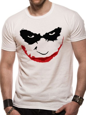 BATMAN T SHIRT Official Merchandise BATMAN THE DARK KNIGHT - JOKER HA OUTLINE (UNISEX) White t-shirt