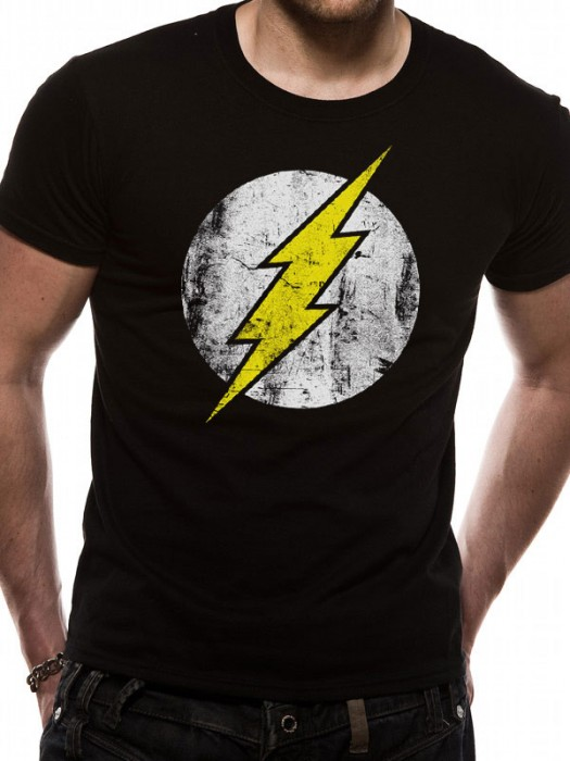 THE FLASH T SHIRT Official Merchandise THE FLASH - DISTRESSED LOGO (UNISEX)  Black t-shirt