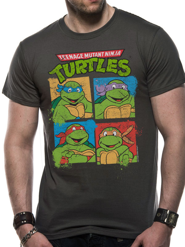 a25afea1 TEENAGE T SHIRT Official Merchandise TEENAGE MUTANT NINJA TURTLES - GROUP  SHOT (UNISEX) Grey t-shirt