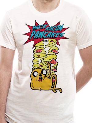 BATMAN T SHIRT Official Merchandise ADVENTURE TIME - PANCAKES (UNISEX)   White t-shirt