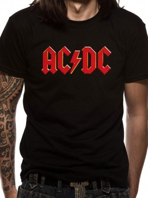 AC/DC T SHIRT Official Merchandise AC/DC - RED LOGO (UNISEX) Black t-shirt