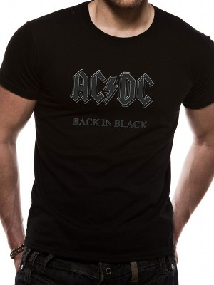 AC/DC T SHIRT Official Merchandise AC/DC - BACK IN BLACK (UNISEX) Black t-shirt