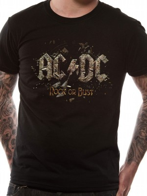 AC/DC T SHIRT Official Merchandise AC/DC - ROCK OR BUST (UNISEX) Black t-shirt