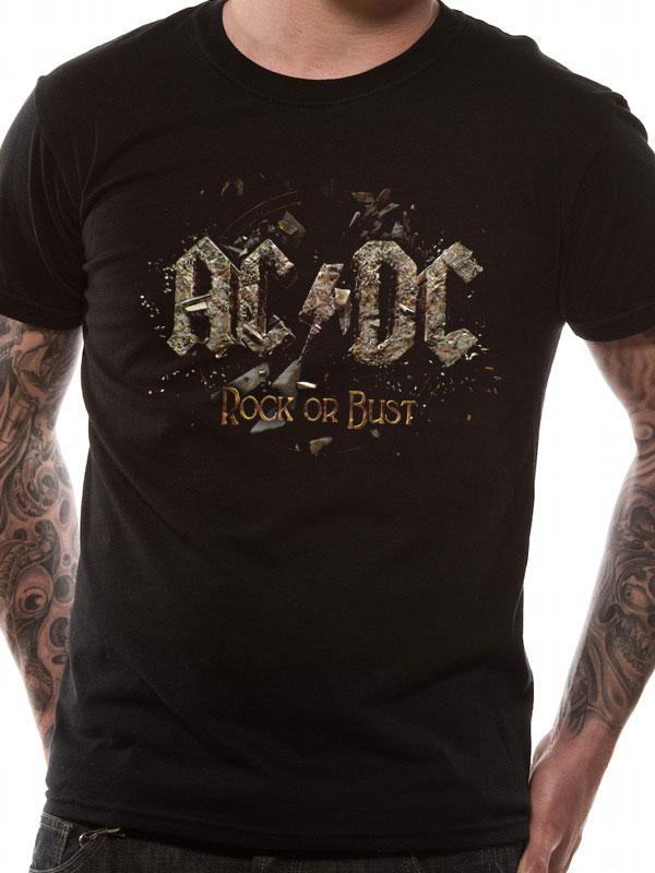 AC DC T SHIRT Official Merchandise AC DC - ROCK OR BUST (UNISEX) Black t- shirt 42d8057ad823b