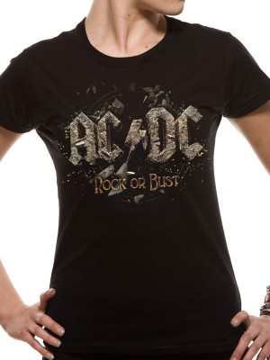 AC/DC T SHIRT Official Merchandise AC/DC - ROCK OR BUST (FITTED) Black t-shirt