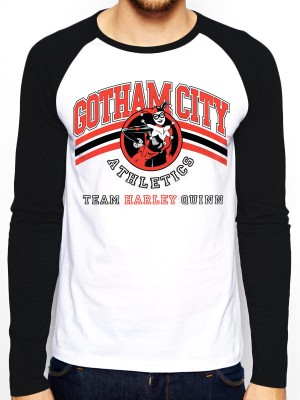 BATMAN  T SHIRT Official Merchandise BATMAN - TEAM HARLEY QUINN (BASEBALL SHIRT) Black/White t-shirt