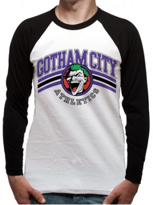 BATMAN  T SHIRT Official Merchandise BATMAN - TEAM JOKER (BASEBALL SHIRT) Black/White t-shirt