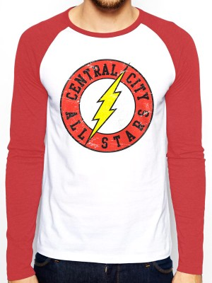 THE FLASH T SHIRT Official Merchandise THE FLASH - ALL STARS (BASEBALL SHIRT) Red /White t-shirt