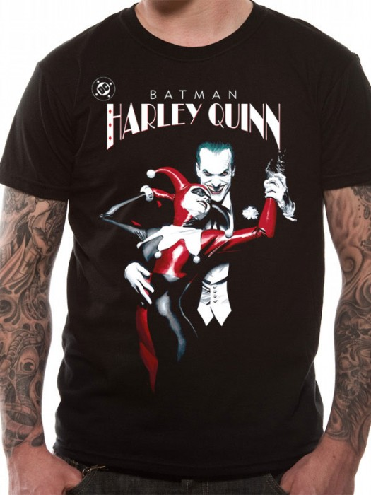 BATMAN T SHIRT Official Merchandise BATMAN - JOKER & HARLEY QUINN (UNISEX)  Black t-shirt