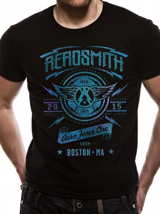 AEROSMITH T SHIRT Official Merchandise AEROSMITH - AEROFORCE ONE (UNISEX) Black t-shirt