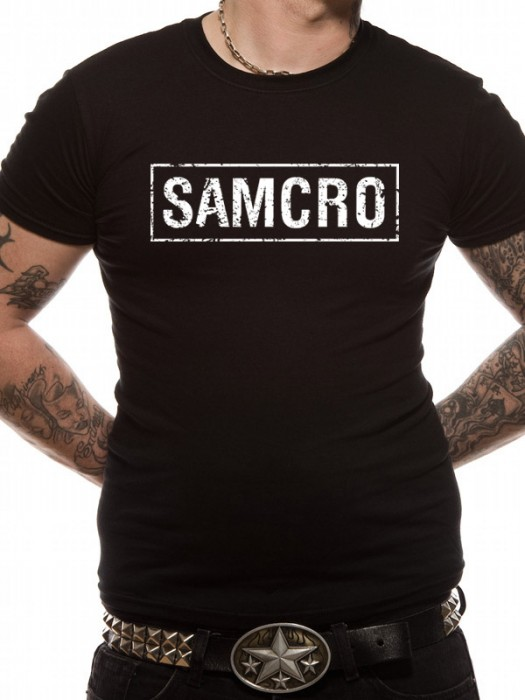 SONS OF ANARCHY T SHIRT Official Merchandise SONS OF ANARCHY - SAMCRO BANNER (UNISEX)  Black t-shirt