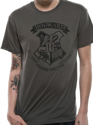 HARRY POTTER T SHIRT Official Merchandise HARRY POTTER - DISTRESSED HOGWARTS (UNISEX) Grey t-shirt