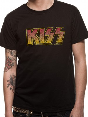 KISS T SHIRT Official Merchandise KISS - VINTAGE LOGO (UNISEX) Black t-shirt