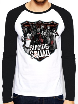 SUICISQUAD T SHIRT Official Merchandise SUICIDE SQUAD - GROUP SHOT (BASEBALL SHIRT) Black/White t-shirt