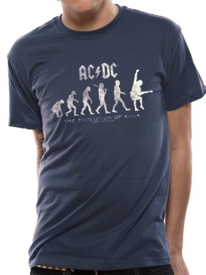 AC/DC T SHIRT Official Merchandise AC/DC - EVOLUTION OF ROCK (UNISEX) Blue t-shirt