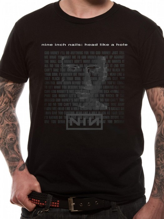 NINE INCH NAILS T SHIRT Official Merchandise NINE INCH NAILS - HEAD (UNISEX) Black t-shirt