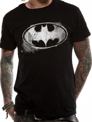 BATMAN T SHIRT Official Merchandise BATMAN - LOGO MONO DISTRESSED (UNISEX) Black t-shirt