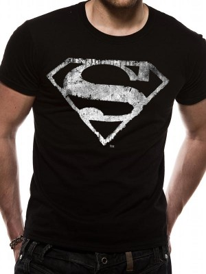 SUPERMAN T SHIRT Official Merchandise SUPERMAN - LOGO MONO DISTRESSED (UNISEX) Black t-shirt