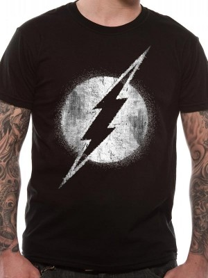 THE FLASH T SHIRT Official Merchandise THE FLASH - LOGO MONO DISTRESSED (UNISEX) Black t-shirt