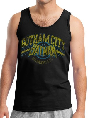 BATMAN T SHIRT Official Merchandise BATMAN - GOTHAM BASKETBALL (UNISEX VEST) Black t-shirt
