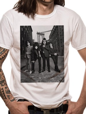 KISS T SHIRT Official Merchandise KISS - B&W CITY (UNISEX) White t-shirt