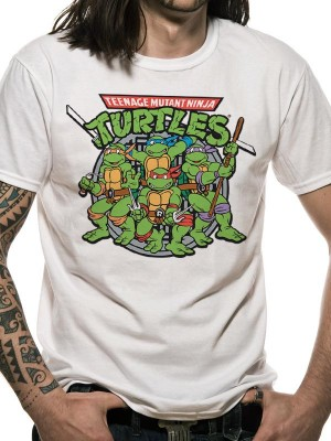 TEENAGE T SHIRT Official Merchandise TEENAGE MUTANT NINJA TURTLES - GROUP (UNISEX) White t-shirt