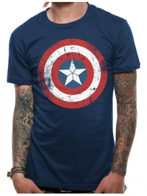 CIVIL WAR T SHIRT Official Merchandise CIVIL WAR - CAP SHIELD DISTRESSED (UNISEX) Blue t-shirt