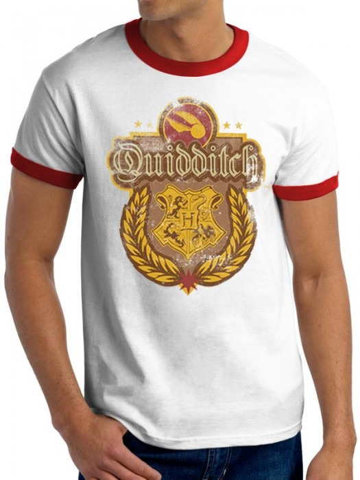 HARRY POTTER T SHIRT Official Merchandise HARRY POTTER - QUIDDITCH (RINGER UNISEX) White/Red t-shirt