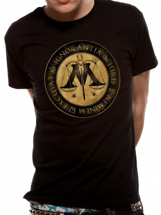 HARRY POTTER T SHIRT Official Merchandise HARRY POTTER - MINISTRY CREST (UNISEX) Black t-shirt