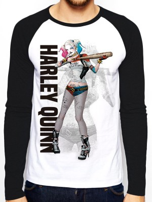 SQUAD T SHIRT Official Merchandise SUICIDE SQUAD - HQ POSTER (BASEBALL SHIRT) Black /White t-shirt