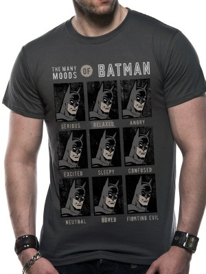 DC ORIGINALS T SHIRT Official Merchandise DC ORIGINALS - MOODS OF BATMAN (UNISEX) Grey t-shirt