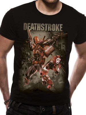 JUSTICE LEAGUE T SHIRT Official Merchandise JUSTICE LEAGUE -  DEATHSTROKE (UNISEX) Black t-shirt