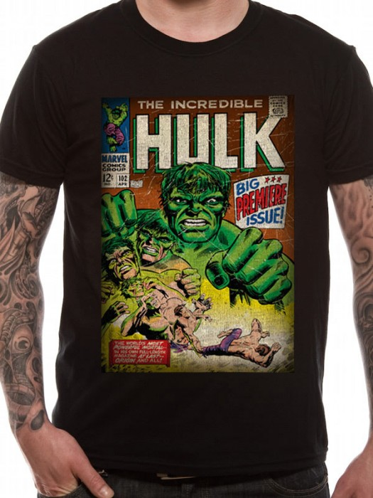 INCREDIBLE HULK T SHIRT Official Merchandise INCREDIBLE HULK - PREMIER (UNISEX) Black t-shirt