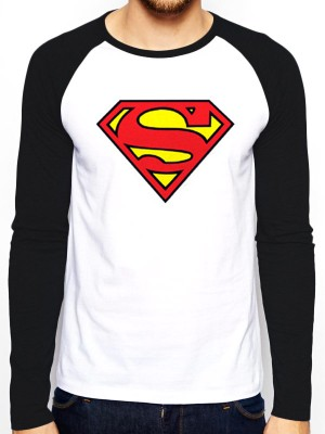 SUPERMAN T SHIRT Official Merchandise SUPERMAN - LOGO (BASEBALL SHIRT) Black/White t-shirt