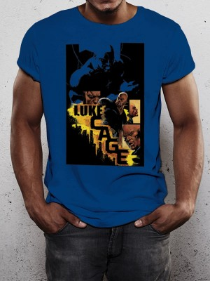 LUKE CAGE T SHIRT Official Merchandise LUKE CAGE - CITY (UNISEX) Blue t-shirt