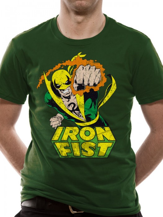 MARVEL COMICS  T SHIRT Official Merchandise MARVEL COMICS - IRON FIST (UNISEX)   Green t-shirt