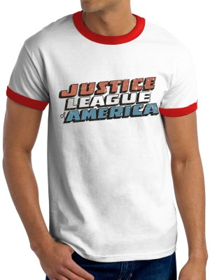 JUSTICE LEAGUE T SHIRT Official Merchandise JUSTICE LEAGUE - VINTAGE LOGO (UNISEX RINGER)  White/Red t-shirt