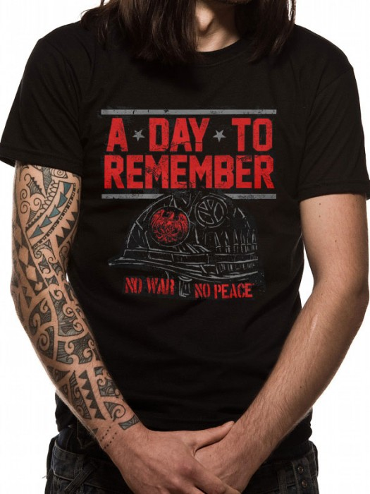 A DAY TO REMEMBER T SHIRT Official Merchandise A DAY TO REMEMBER - NO WAR (UNISEX) Black t-shirt