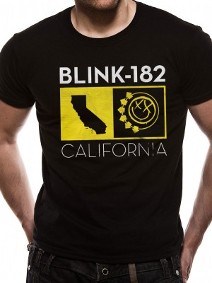 BLINK 182 T SHIRT Official Merchandise BLINK 182 - CALIFORNIA STATE (UNISEX) Black t-shirt
