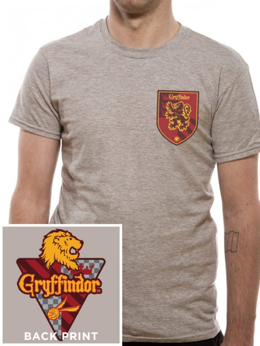 HARRY POTTER  T SHIRT Official Merchandise HARRY POTTER - HOUSE GRYFFINDOR  (UNISEX)  Heather Grey t-shirt
