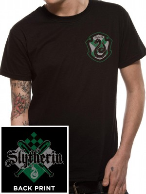 HARRY POTTER  T SHIRT Official Merchandise HARRY POTTER - HOUSE SLYTHERIN  (UNISEX)  Black t-shirt
