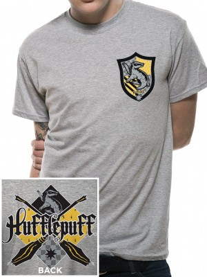 HARRY POTTER T SHIRT Official Merchandise HARRY POTTER - HOUSE HUFFLEPUFF (UNISEX) Heather Grey t-shirt