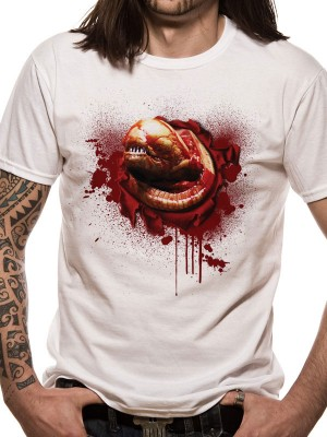 ALIEN T SHIRT Official Merchandise ALIEN - CHEST BUSTER (UNISEX)   White t-shirt