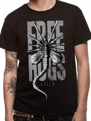 ALIEN T SHIRT Official Merchandise ALIEN - FREE HUGS (UNISEX)   Black t-shirt