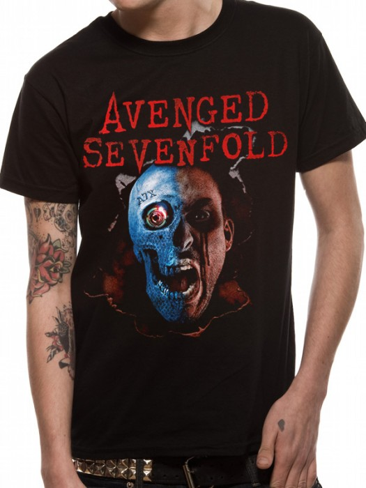 AVENGED SEVENFOLD T SHIRT Official Merchandise AVENGED SEVENFOLD - ROBOT HEAD (UNISEX)   Black t-shirt