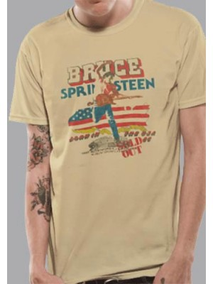 BRUCE T SHIRT Official Merchandise BRUCE SPRINGSTEEN - TOUR (UNISEX) Yellow t-shirt